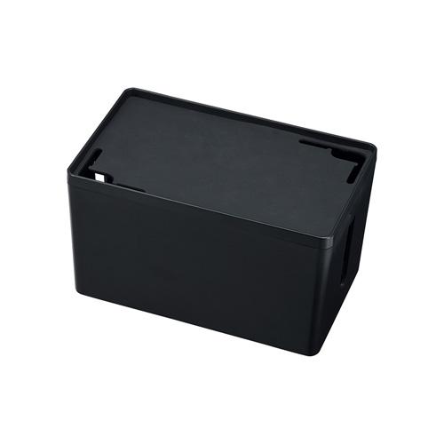 ケーブル&タップ収納ボックス(Sサイズ・ブラック)