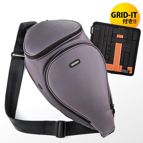 【クリックで詳細表示】EOS Kiss X5/X6i/X7・D3200/D5100/D7000対応 一眼レフカメラバッグ(「GRID-IT!」付属・Cocoon Digital SLR Sling・グレー&オレンジ) CCS700GY