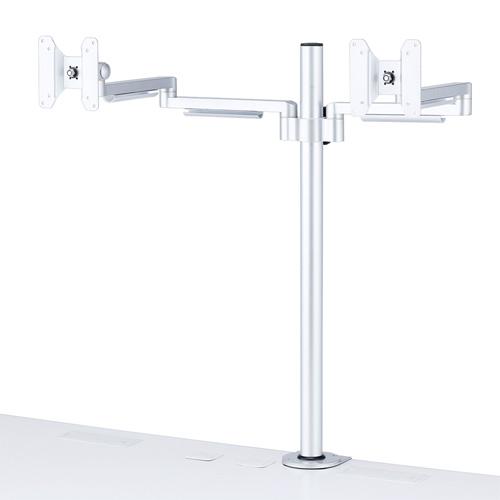 【わけあり在庫処分】水平多関節液晶モニタアーム(H700mm・左右2面)