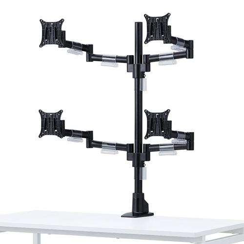 水平多関節液晶モニタアーム(4面・VESA対応・クランプ/グロメット式)