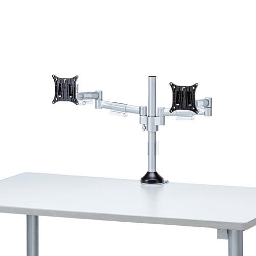 モニターアーム(水平多関節・クランプ式・ネジ固定・左右2面・H420mm・24インチまで・耐荷重8kg)
