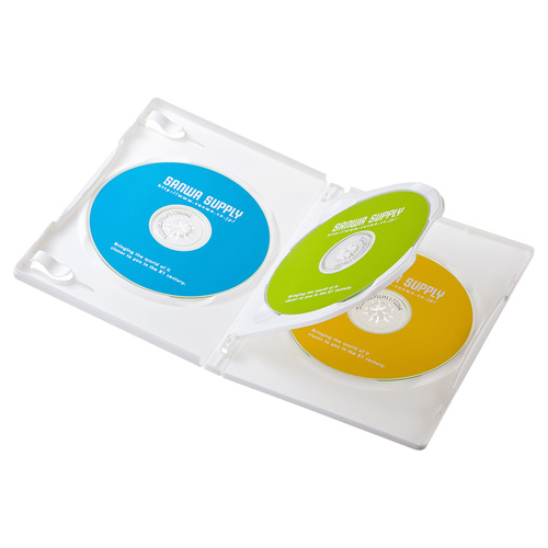 DVDトールケース(3枚収納・3枚パック・ホワイト)