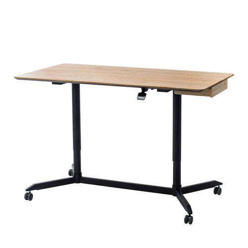 ミーティングテーブル(ガス圧昇降・キャスター付き・W1500×D800mm・薄い木目)