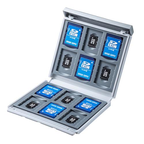 【期間限定価格】メモリーカードケース(SDカード12枚+microSDカード12枚・ハードケース・衝撃吸収・ホワイト)