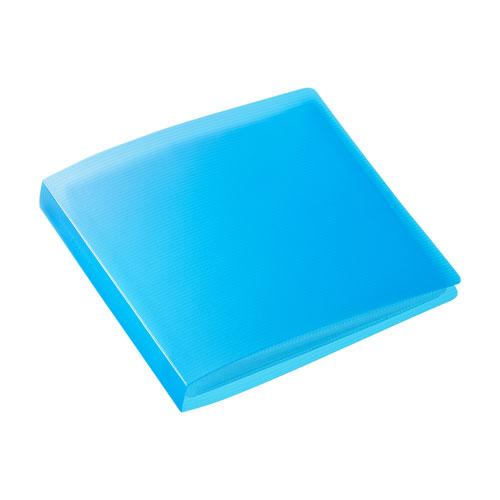 CD・DVD収納ケース(ファイルケース・12枚収納・インデックス付き・ブルー)