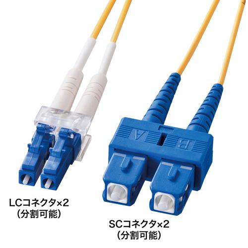 光ケーブル(LC・SCコネクタ・20m・コア径10ミクロン)
