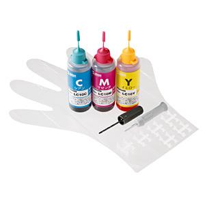 【在庫処分】 詰め替えインク ブラザー LC10C・M・Y 各約8回分(3色カラー・各60ml) INK-LC10SET60S