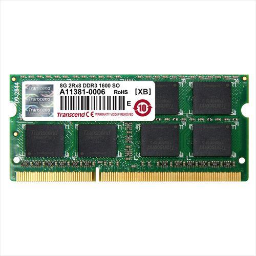 【クリックで詳細表示】Transcend ノートPC用増設メモリ 8GB DDR3-1600 PC3-12800 SO-DIMM JM1600KSH-8G。 JM1600KSH-8G