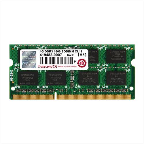 【クリックで詳細表示】Transcend ノートPC用増設メモリ 4GB DDR3-1600 PC3-12800 SO-DIMM JM1600KSN-4G JM1600KSN-4G