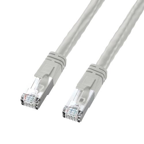PoE用LANケーブル(Cat6・より線・48V給電対応・15m・ライトグレー)