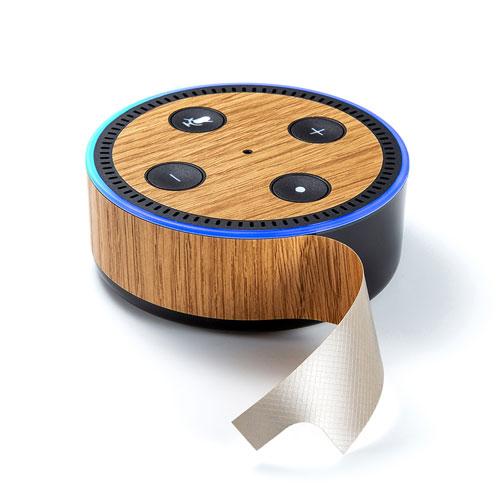 【わけあり在庫処分】Amazon echo Dot第2世代 スキンシール(木目調)