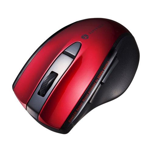 静音BluetoothブルーLEDマウス(5ボタン・レッド)