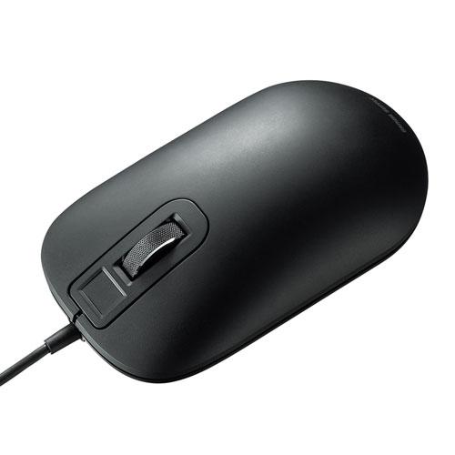 指紋認証マウス(Windows Hello対応・有線・ブラック)