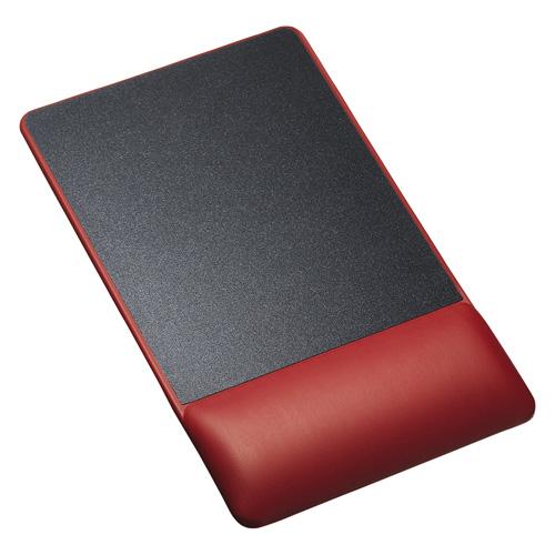 リストレスト付きマウスパッド(レザー調素材、高さ18.5mm、レッド)