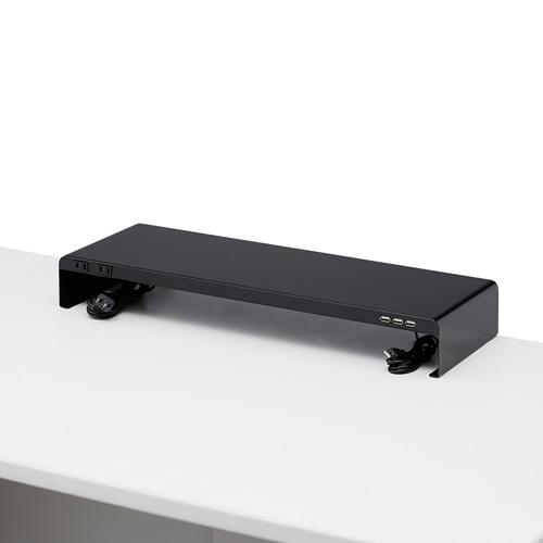 机上ラック(電源タップ+USBポート付き/W600×D200mm・ブラック)