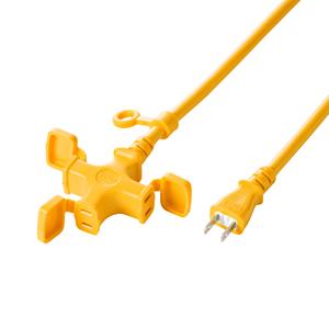 【クリックでお店のこの商品のページへ】電源延長コード(3分岐・2P・20m・イエロー)防塵キャップ付き TAP-EX32-20Y