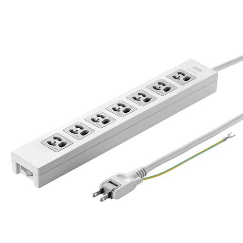 電源タップ(3P・7個口・2m・一括集中スイッチ付・絶縁キャップ付2Pスイングプラグ)