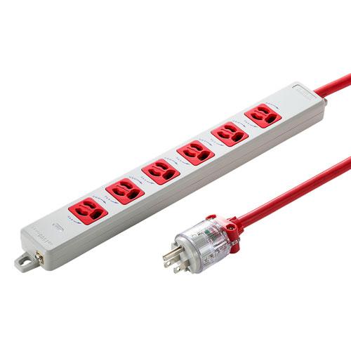 医用接地プラグ付き電源タップ(3P・6個口・レッド・1m)