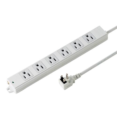 工事物件タップ(エココードケーブル・3Pノーマル・L型プラグ・6個口・1m)