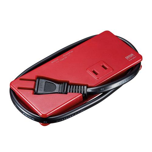モバイルタップ(AC2個口・USB充電2ポート・薄型・レッド)