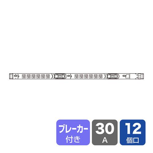 19インチサーバーラック用コンセント(スリムタイプ・100V・30A・3P・12個口・3m)