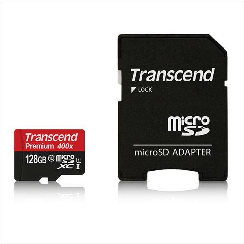 Transcend microSDXCカード 128GB Class10 UHS-1対応 400x SDカード変換アダプタ付 TS128GUSDU1P