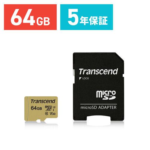 Transcend microSDXCカード 64GB Class10 UHS-I U3 V30 TS64GUSD500S