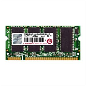Transcend ノートPC用増設メモリ 512MB DDR-333 PC-2700 SO-DIMM TS64MSD64V3J